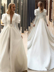 onlybridals Vintage Satin Wedding Dresses Deep V Neck Sweep Train A Line Vestidos De Novia Long Sleeves Royal Bridal Gowns Country Wedding Dress - onlybridals