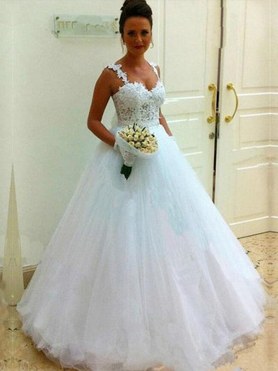 onlybridals Ball Gown Wedding Dresses Fashion Sweetheart Applique Beaded Tulle Formal Bride Dress