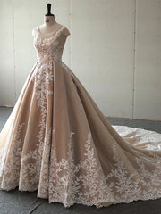 onlybridals Princess Champagne O-neck Cap Sleeve Lace Applique Ball Gown Wedding Dress Wedding Gown