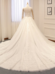 Long Sleeve Lace Wedding Dresses Ball Gown High Neck Wedding Gowns Weding Bridal Bride Dresses Weddingdress vestido de noiva - onlybridals