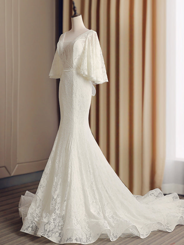 onlybridals Mermaid Wedding Dresses Backless Robe de Mariee Vintage Lace Floral Applique Cap Sleeves Bridal Gowns - onlybridals