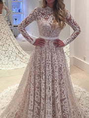onlybridals Vintage Wedding Dress Lace Boat Neck Long Sleeves Backless Bridal Gown