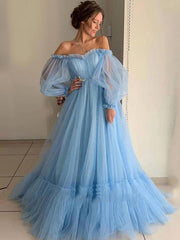 onlybridals Blue Prom Dresses Off the Shoulder Beautiful Princess Dress Tulle Backless Evening Party Dresses Robe De Soiree