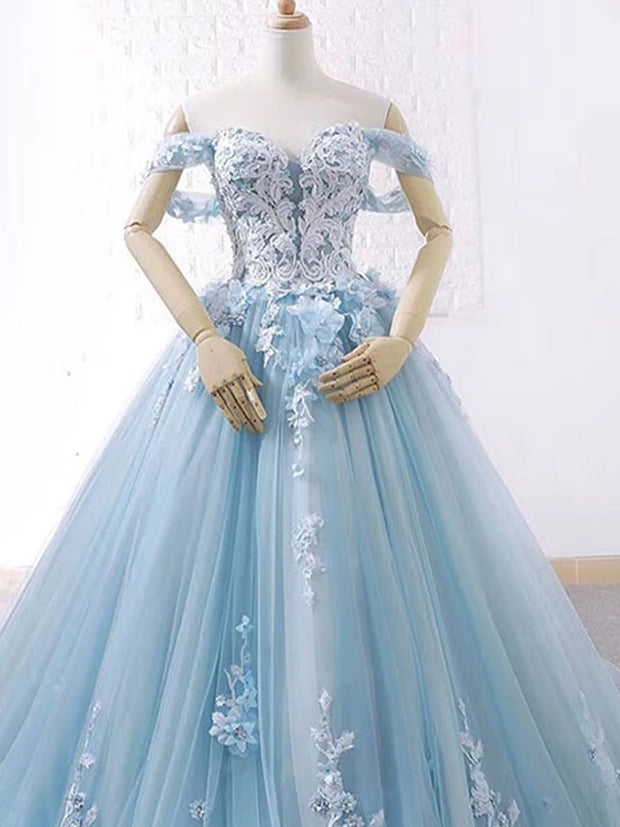 onlybridals Blue sweetheart tulle lace long prom dress, blue wedding dress - onlybridals