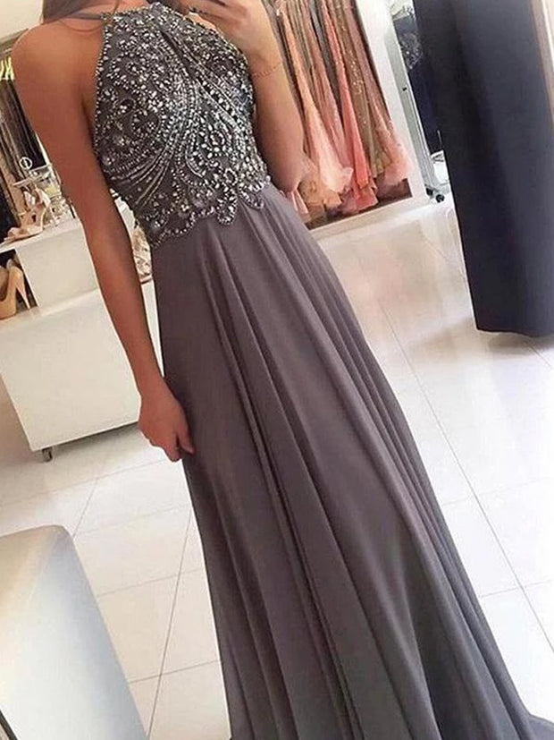 Grey Chiffon Halter Beaded Long Prom Dresses Formal Dress for Girls - onlybridals