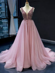 onlybridals Pink V neck Tulle Beads Long Prom Dress, Pink Evening Dress - onlybridals