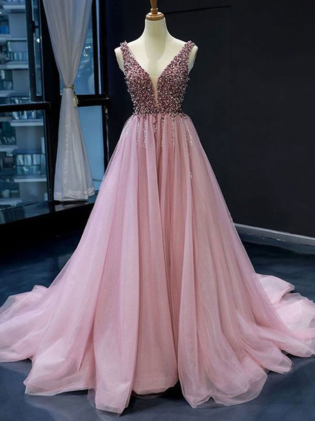 onlybridals Pink V neck Tulle Beads Long Prom Dress, Pink Evening Dress