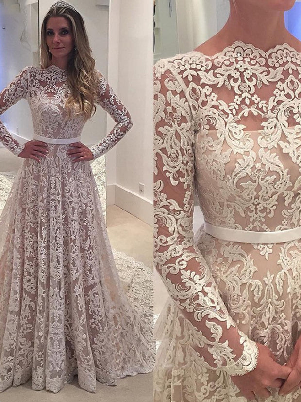 onlybridals Vintage Wedding Dress Lace Boat Neck Long Sleeves Backless Bridal Gown - onlybridals