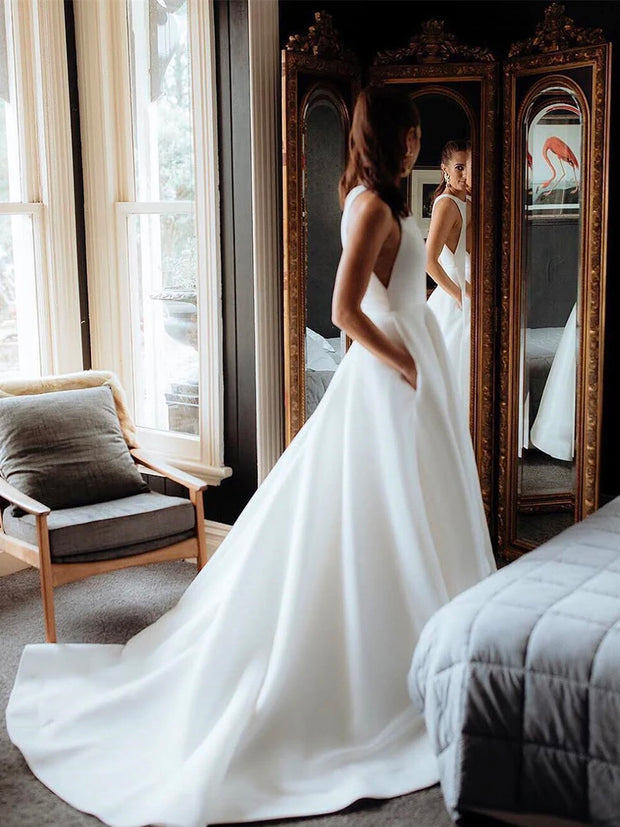 onlybridals Simple Satin Wedding Dresses A-line Long Bridal Gowns
