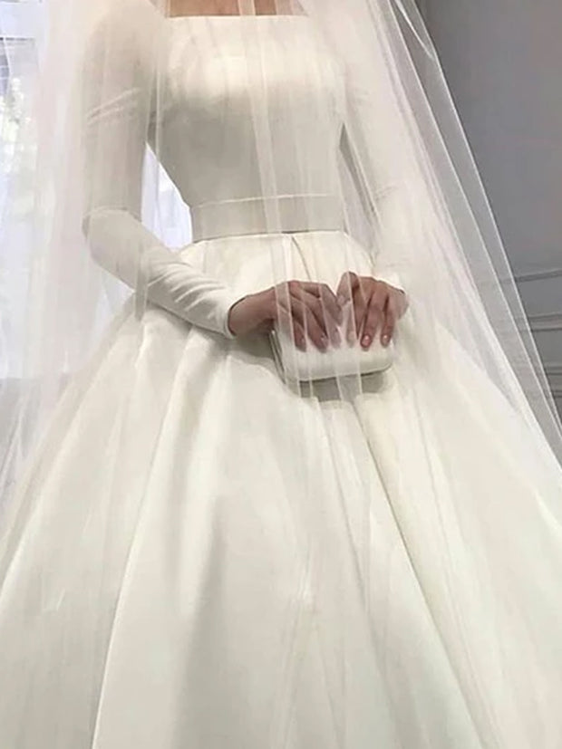 onlybridals Plain White Satin Long Sleeve Wedding Dress 2019 Bohemian Style Wedding Dresses