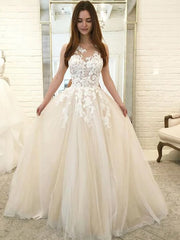 onlybridals A-Line Round Neck Sleeveless Tulle Long Wedding Dresses With Appliques - onlybridals