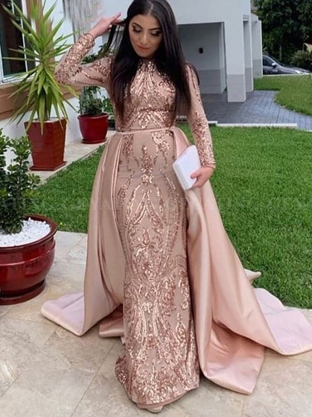 onlybridals  Long Sleeves Mermaid Muslim Evening Dress with Detachable Train Rose Gold Dubai Prom Formal Dresses