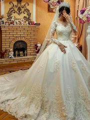 onlybridals Long Sleeves Lace Gothic Ball Gown Wedding Dresses Lace Applique Beads wedding Gown