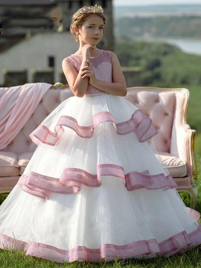 onlybridals Ball Gown O-Neck Tulle Zipper Long Girl Party Dresses for Girl 2019 flower girl dresses for weddings - onlybridals