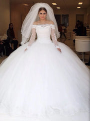 onlybridals Off-the-shoulder Lace Long Sleeves Organza Wedding Dresses Ball Gowns - onlybridals
