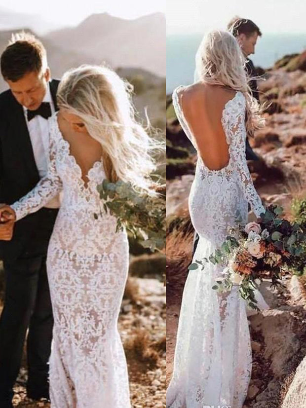 onlybridals Country Farm Wedding Dresses Full Lace Mermaid Long Sleeve Sexy Backless Summer Garden Bridal Gowns Boho - onlybridals