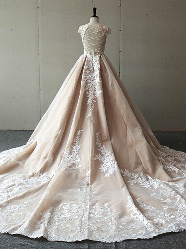 onlybridals Princess Champagne O-neck Cap Sleeve Lace Applique Ball Gown Wedding Dress Wedding Gown - onlybridals
