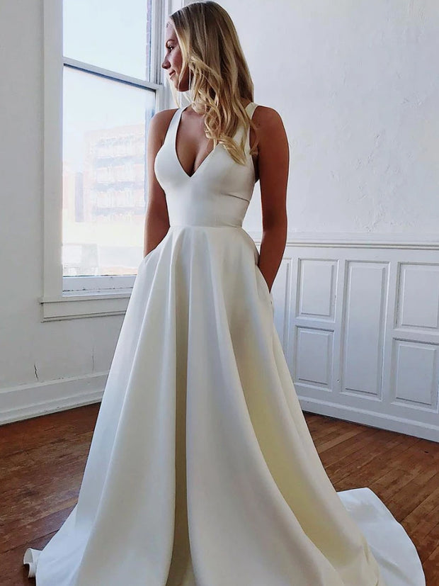 onlybridals Simple white satin long prom dress, white evening dress - onlybridals