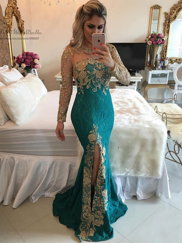onlybridals Sexy Formal Green Gold Lace Evening Dresses Long Sleeve Mermaid Prom Dress Beaded Special Occasion Gown - onlybridals