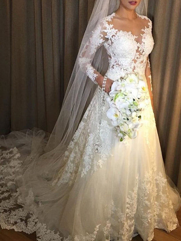 onlybridals  Lace Wedding Dresses A-Line Illusion Long Sleeves Saudi Arabic Wedding Gown Bridal Dresses - onlybridals