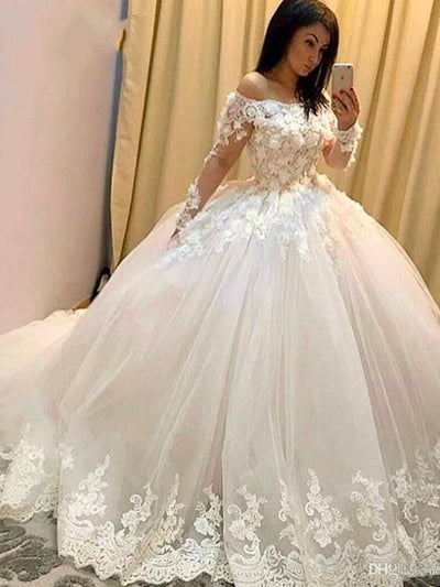 onlybridals Ball Gown Wedding Dresses Illusion Long Sleeve Lace Appliques Hand Made Flowers Floor Length Bridal Dresses Arabic gown