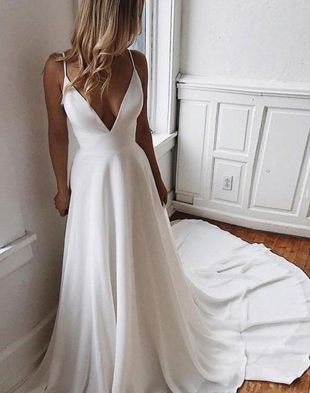 onlybridals Simple V Neck Chiffon A Line Boho Beach Wedding Dresses 2020 Cheap Custom Bride Dress Vestidos De Novia - onlybridals