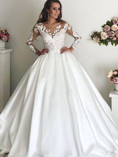 onlybridals Long Sleeves  Court Train Lace Appliques Bridal Gown Satin Ball Gown Wedding Dresses