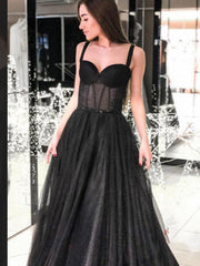 Black A-line Sleeveless Spaghetti Straps Long Prom Dresses