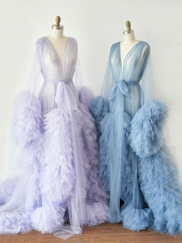 Robes Bathrobe Sky Blue Women Long Tulle Dresses Photo Shoot Birthday Party Bridal Fluffy Party Sleepwear Custom Made