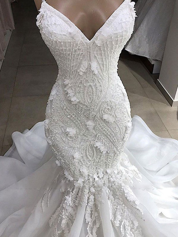 Sexy Mermaid Spaghetti Straps Ivory Wedding Dresses With Appliques Tulle Lace Bridal Gowns On Sale