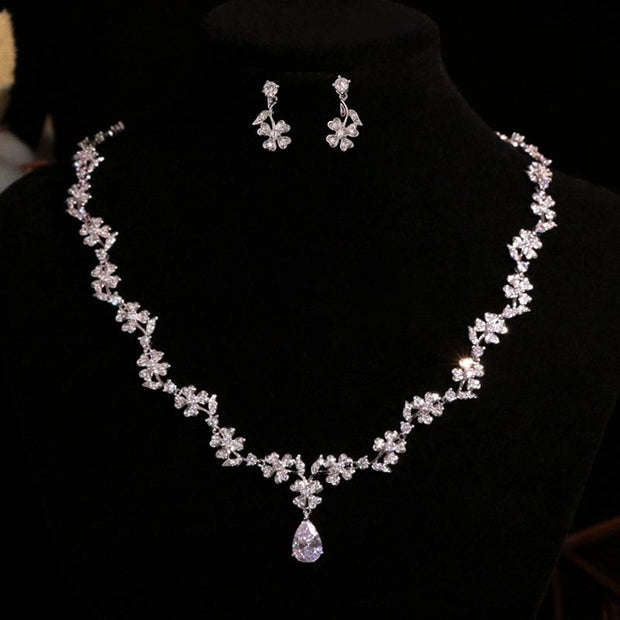 Simple earrings diamond clavicle chain bridal necklace jewelry