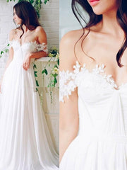 onlybridals Beach Wedding Chiffon A line Long Bridal Gowns With Pleats Floor Length Off-Shoulder summer Boho Wedding Dresses