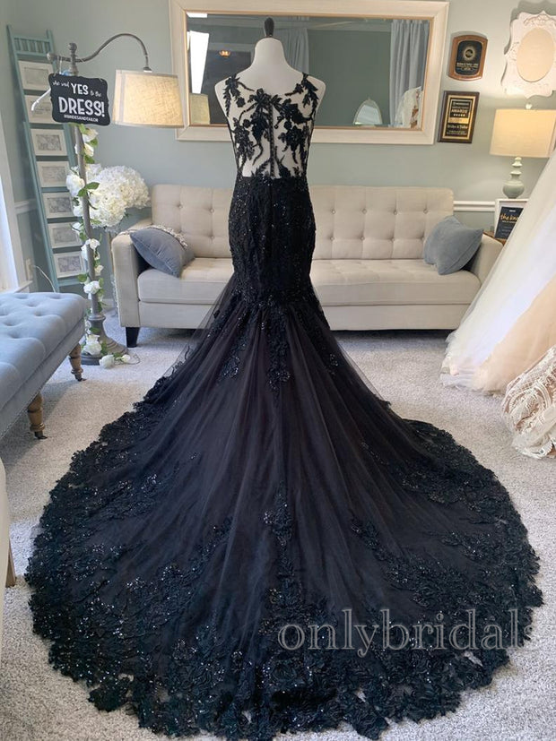 onlybridals A-Line Wedding Dress,Black Lace Wedding Dress,Illusion Back Wedding Dress - onlybridals