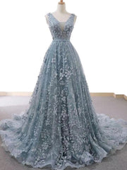 Dusty Blue Tulle Long Prom Dress With Appliques Formal Gown
