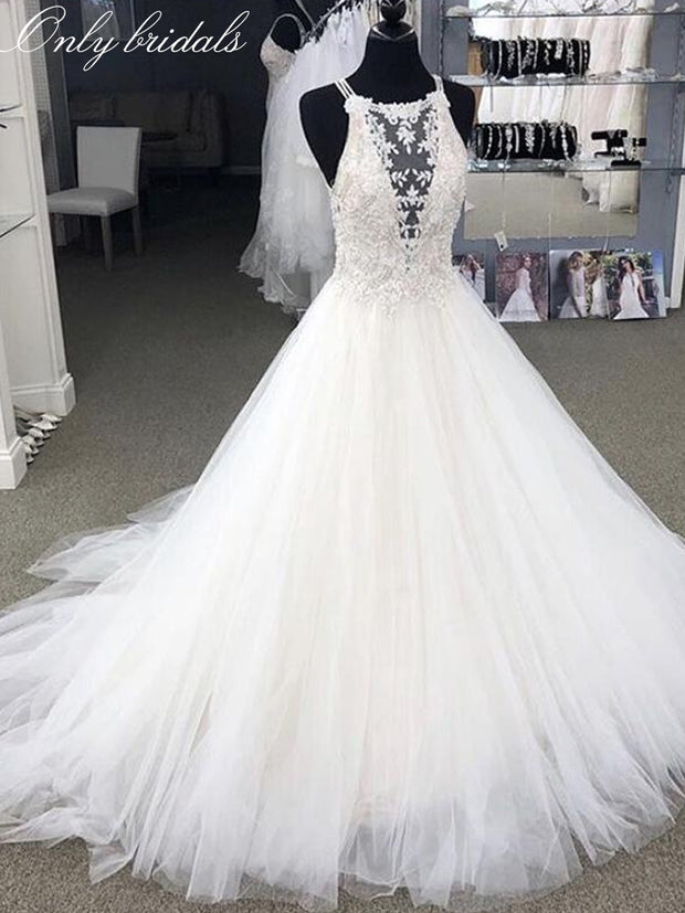 onlybridals Ivory Lace Appliques Tulle Wedding Dresses Spaghetti Straps Princess A-line Country Bridal Dresses Court Train Customize