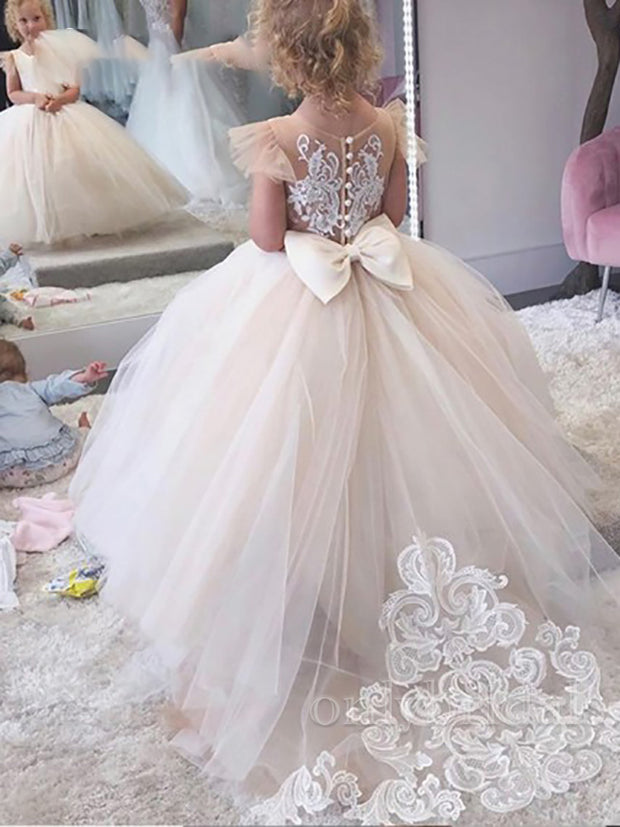 onlybridals 2020 Simple Ball Gown Flower Girl Dress Lace Appliques Baby Girls Party Dresses Cap Sleeves Puffy Back Bow - onlybridals