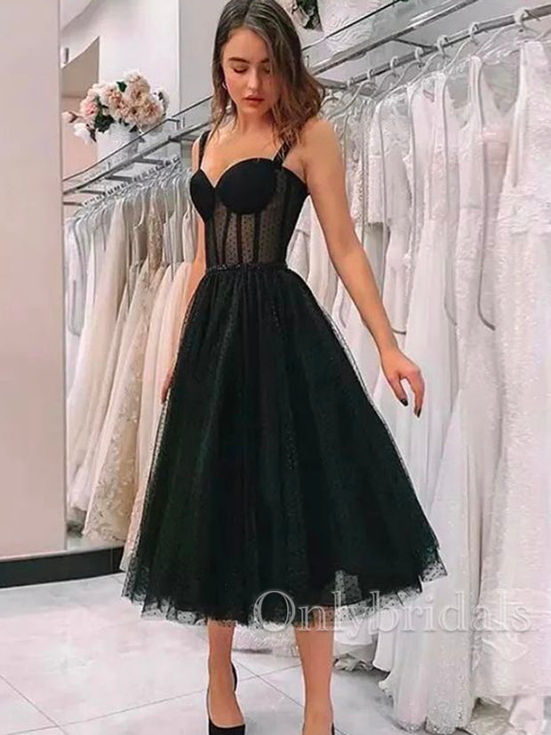 onlybridals A-Line Black Tulle Straps Sweetheart Tea Length Prom Dress - onlybridals
