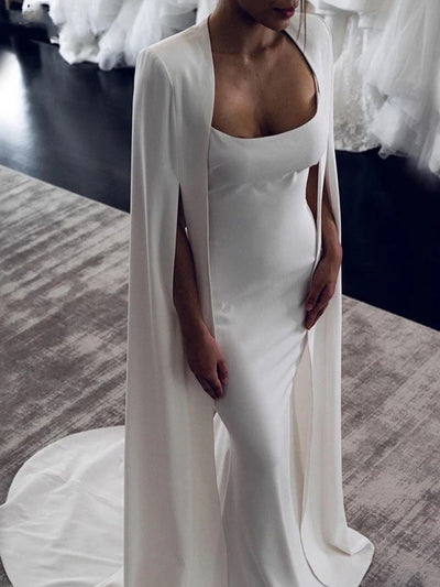 Sexy Mermaid Wedding Dresses With Cape Backless robe de mariée Simple Satin Bridal Gowns vestidos de novia Custom