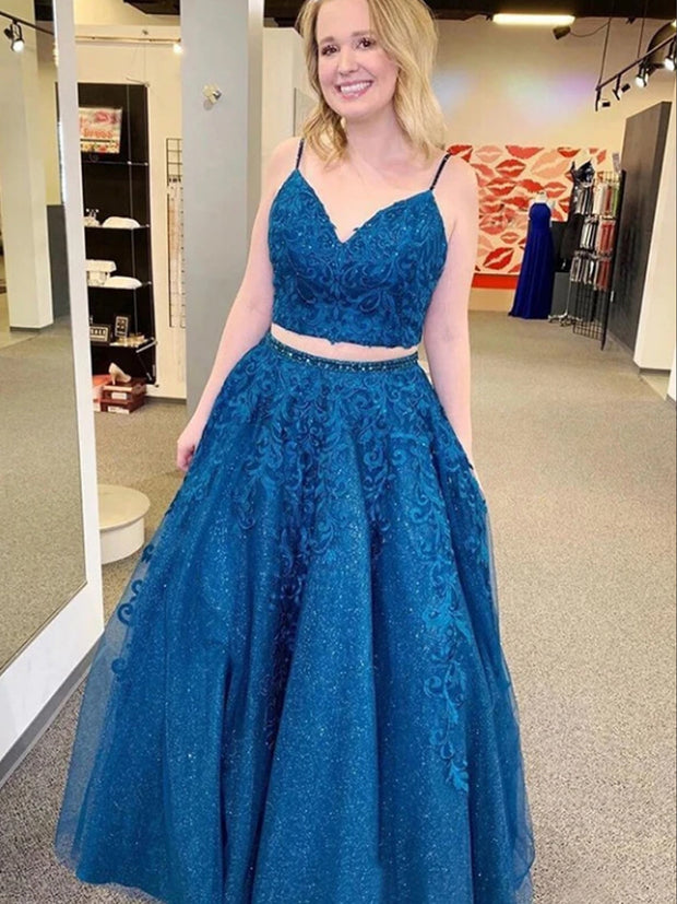 Mykonos Blue Sparkly Two Pieces Appliqued Spaghetti Straps Prom Dress