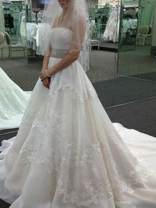 onlybridals   A-line Strapless Sweep Brush Train Tulle Wedding Dresses
