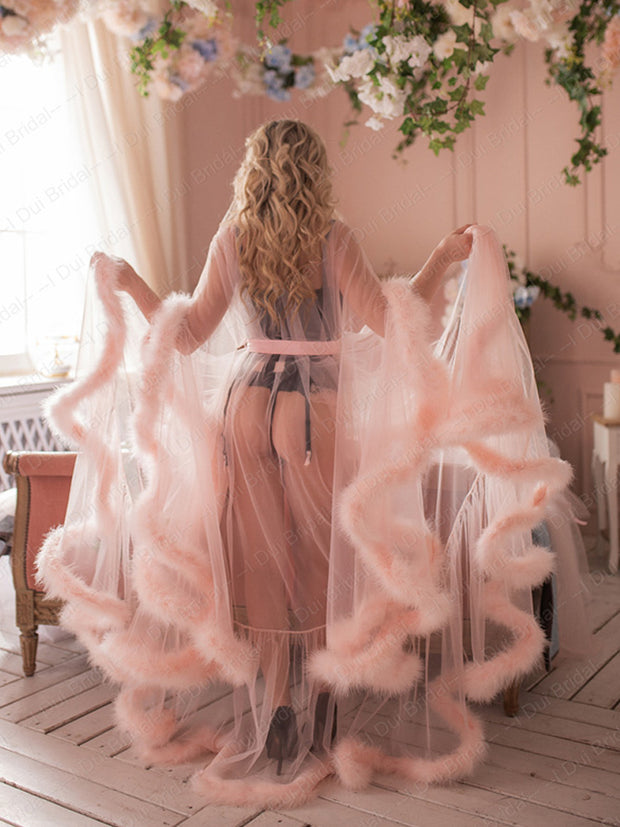Bridal Boudoir Robe Pink Feather Bridal Sheer Robe Tulle Illusion Long Birthday Feather Robe Costume Bachelorette Party Dress - The Only Love Wedding Dress