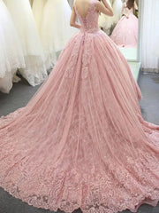 2021 sleeveless pink wedding dresses lace applique Long Tail Backles vestidos de novia luxury princess wedding dress