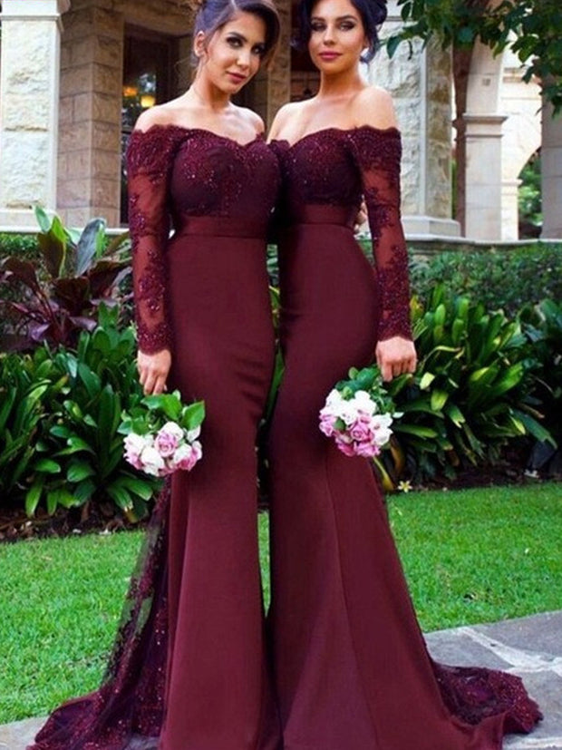 onlybridals Sexy Lace Burgundy Bridesmaid Dresses 2018 Mermaid Long Sleeve Beaded Long Bridesmaid Dress Formal - onlybridals