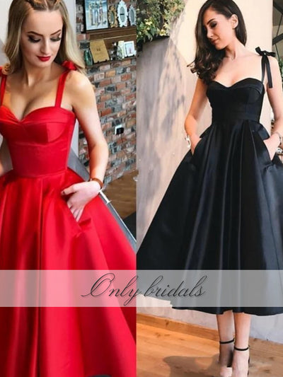onlybridals Length Prom Dresses Short With Pockets Sweetheart Straps Zipper Satin A-Line Simple Evening Party Gowns - onlybridals
