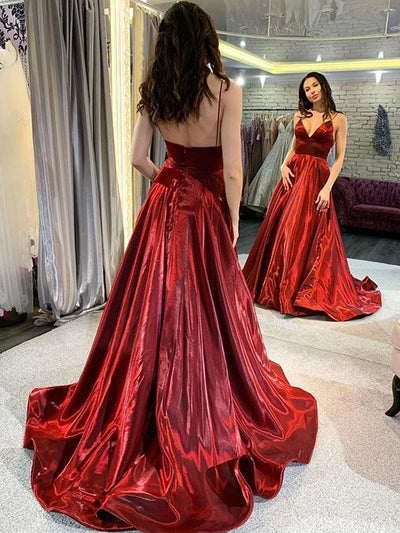 Chic A-line Spaghetti Straps Burgundy Cheap Long Prom Dresses Evening Dress