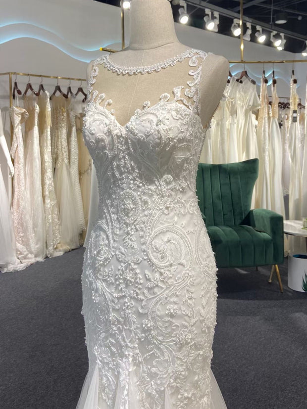 Mermaid strapless lace applique wedding dress for wedding occasions