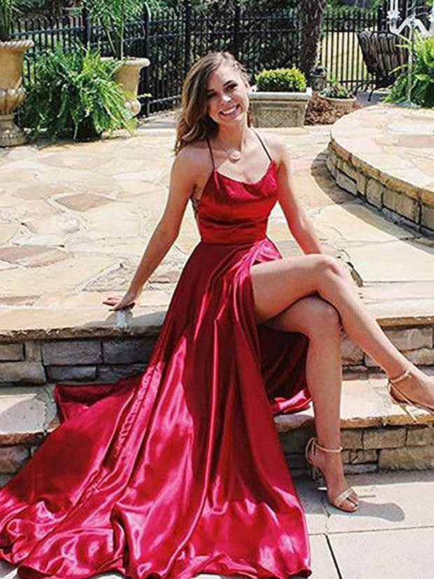 onlybridals  Neck Prom Dresses 2020 Sexy Backless Front Split Satin A-line Prom Party Dress vestidos de festa longo - onlybridals