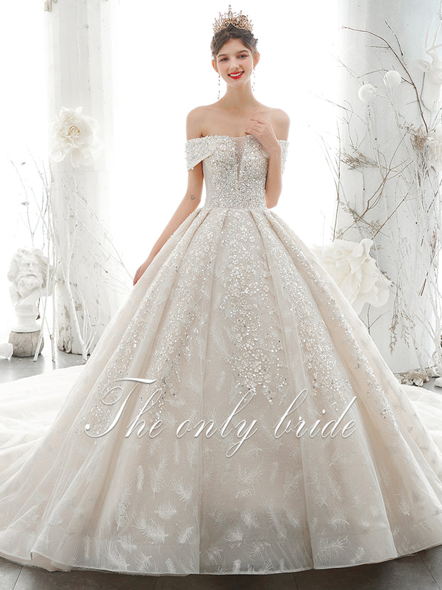 onlybridals Lace A-Line Wedding Dress 2020 Luxury Scoop Neck Beaded Cap Sleeve Bride Gown - onlybridals