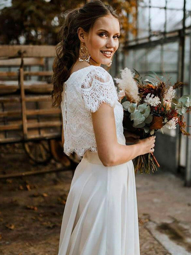Bohemian Two Pieces Wedding Dresses 2021 Lace Top Short Sleeve Bridal Gown Jewel Neck Beach Wedding Gown - onlybridals