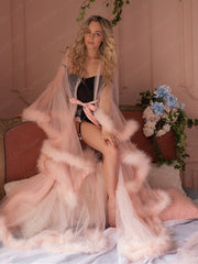 Bridal Boudoir Robe Pink Feather Bridal Sheer Robe Tulle Illusion Long Birthday Feather Robe Costume Bachelorette Party Dress - onlybridals